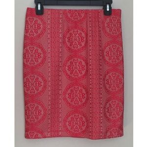 Red Lace Pencil Skirt M/P Fully Lined